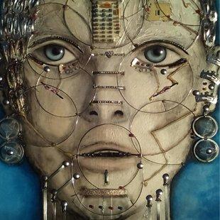 60x60 humanoid 1   -acrilico e materiale riciclo-